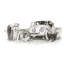 Travel and adventure with a historic car. Photographic Print