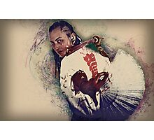 Young punk teen girl wielding a bokken (a wooden Japanese sword used for practice) digitally enhanced Photographic Print