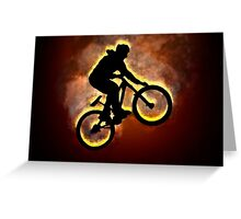 Digitally enhanced image of a bicycle stunt  Greeting Card
