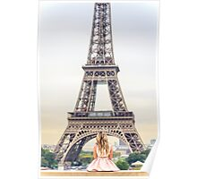 Facing eiffel tower alone Poster