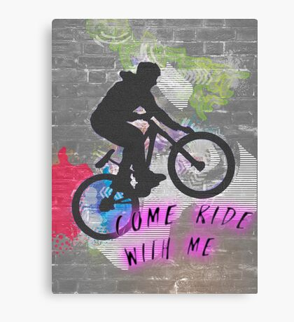 Come ride with me, wall graffiti image of a bicycle stunt  Canvas Print