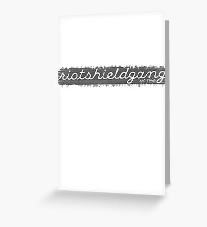 RIOTSHIELDGANG grey simplistic print Greeting Card