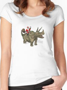 Santa Claus Riding A Triceratops Women's Fitted Scoop T-Shirt