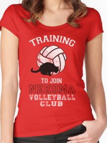 Training to join Nekoma Volleyball Club Women's Fitted Scoop T-Shirt