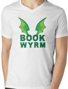 BOOK WYRM (bookworm) Dragon wings Mens V-Neck T-Shirt