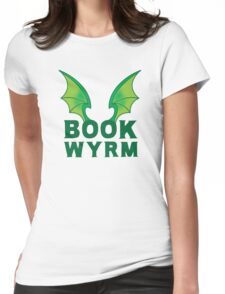 BOOK WYRM (bookworm) Dragon wings Womens Fitted T-Shirt