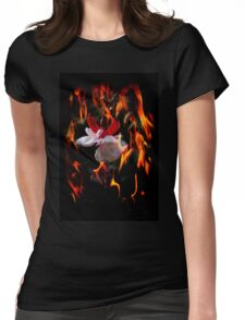 Red Hot Flower Womens Fitted T-Shirt