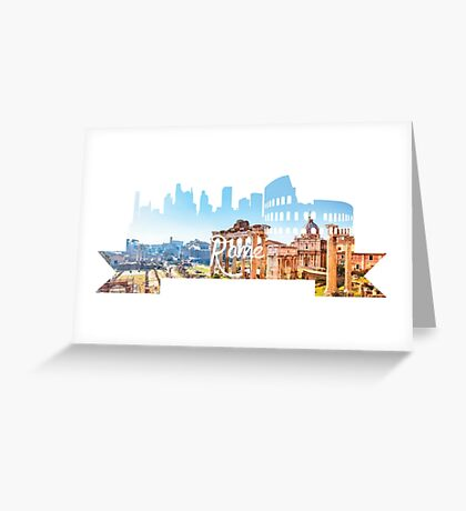 Rome Skyline White Greeting Card