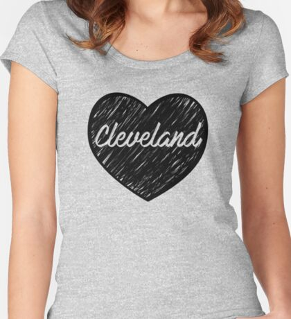 I Love Cleveland, I Heart Cleveland (Cursive) Women's Fitted Scoop T-Shirt