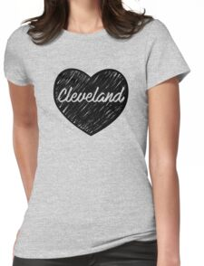 I Love Cleveland, I Heart Cleveland (Cursive) Womens Fitted T-Shirt
