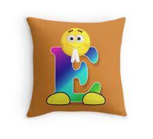 Letter E Alphabet Smiley Monogram Face Emoji Shirt for Men Women Kids Throw Pillow