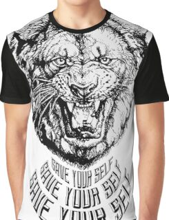 Save Your Self - Lion Graphic T-Shirt