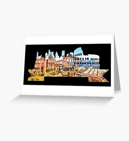 Rome Skyline Black Greeting Card