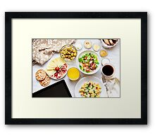 Fresh continental breakfast. Healthy food. Tablet, black screen. Framed Print