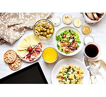 Fresh continental breakfast. Healthy food. Tablet, black screen. Photographic Print