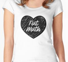 I Love Fort Worth - I Heart Ft Worth [Cursive] Women's Fitted Scoop T-Shirt