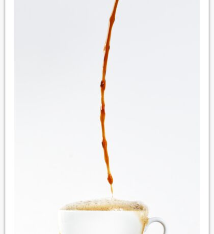 Pouring coffee in a cup on white background. Breakfast. Sticker
