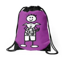 The boy with the spiky hair - dark purple Drawstring Bag
