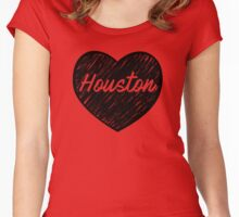 I Love Houston - I Heart HOU (Cursive) Women's Fitted Scoop T-Shirt