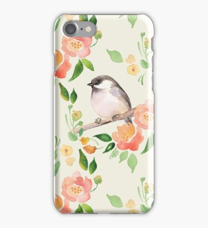 Watercolor floral background with a cute bird iPhone Case/Skin