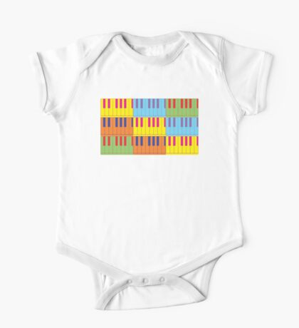 Music Keyboard Piano Synth Pop Art One Piece - Short Sleeve