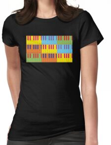 Music Keyboard Piano Synth Pop Art Womens Fitted T-Shirt