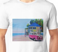 Surf Bus Series - Beach House with Red VW Surf Bus Unisex T-Shirt