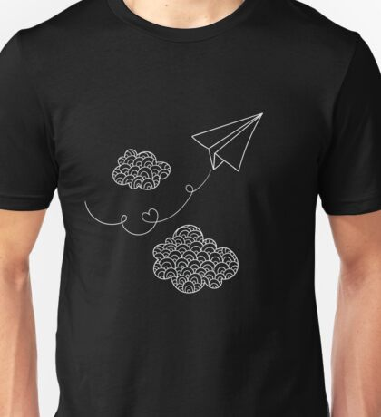 Love Paper Airplane- Clouds Plane  Unisex T-Shirt