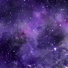 Space stars deep purple star filled sky watercolour  by Sandra O'Connor