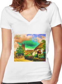 COUNTRY COTTAGES 9D-T Women's Fitted V-Neck T-Shirt