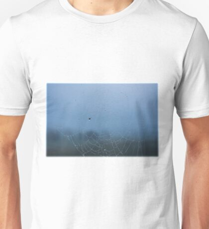 Drops on a spider web on a foggy day Unisex T-Shirt