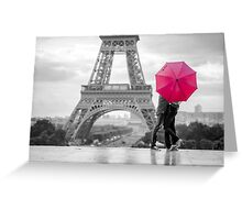 red umbrella in rainy paris Greeting Card