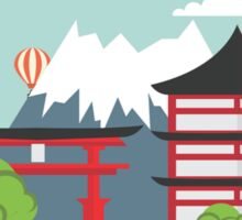 Oriental Japanese Mountain Sunset Sticker