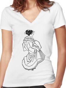 Japanese Dress Women's Fitted V-Neck T-Shirt