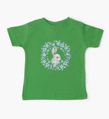 Rabbit and floral wreath Baby Tee