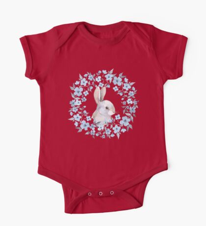 Rabbit and floral wreath One Piece - Short Sleeve