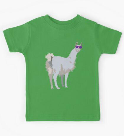 Cool Llama In Sunglasses Kids Tee