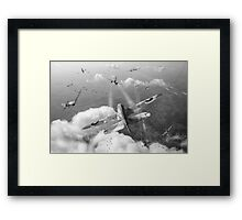 Headlong attack (Hurricanes over Weymouth) black and white version Framed Print