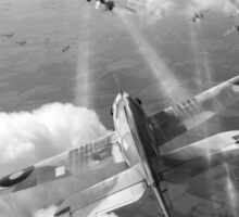 Headlong attack (Hurricanes over Weymouth) black and white version Sticker
