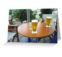 Greek beer, poured and waiting. Greeting Card