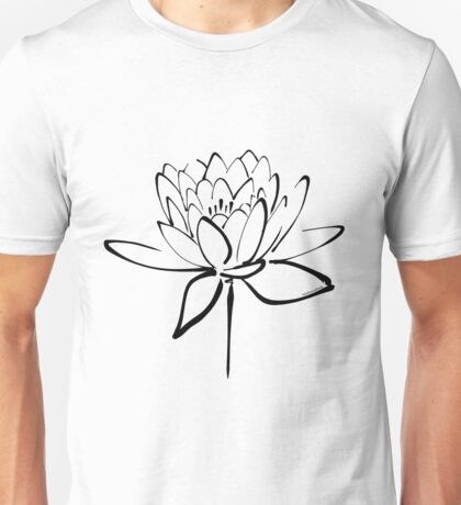Lotus Flower Calligraphy (Black) Unisex T-Shirt
