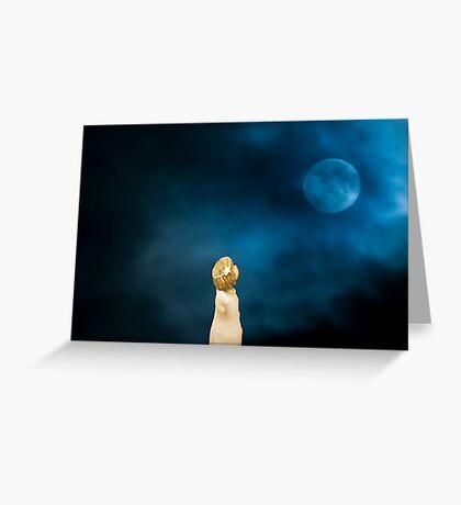 Cute angel girl watching the blue moon Greeting Card