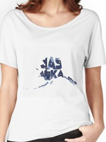 Alaska Typographic Map Flag Women's Relaxed Fit T-Shirt