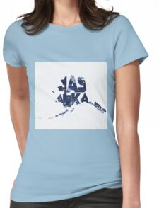 Alaska Typographic Map Flag Womens Fitted T-Shirt