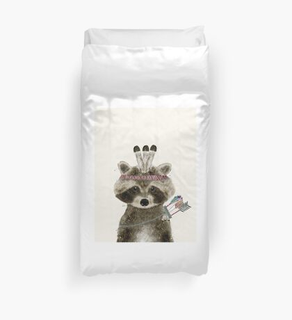 little raccoon brave Duvet Cover