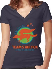 Space Mercenaries Women's Fitted V-Neck T-Shirt