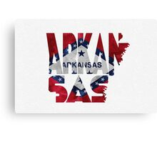 Arkansas Typographic Map Flag Canvas Print