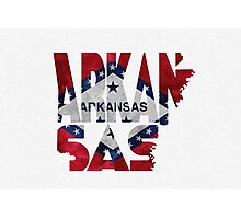 Arkansas Typographic Map Flag Photographic Print