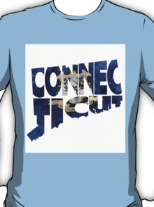 Connecticut Typographic Map Flag T-Shirt