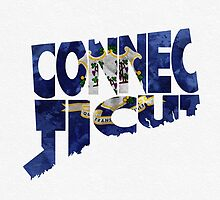 Connecticut Typographic Map Flag by A. TW